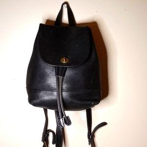 Coach vintage black leather backpack bag